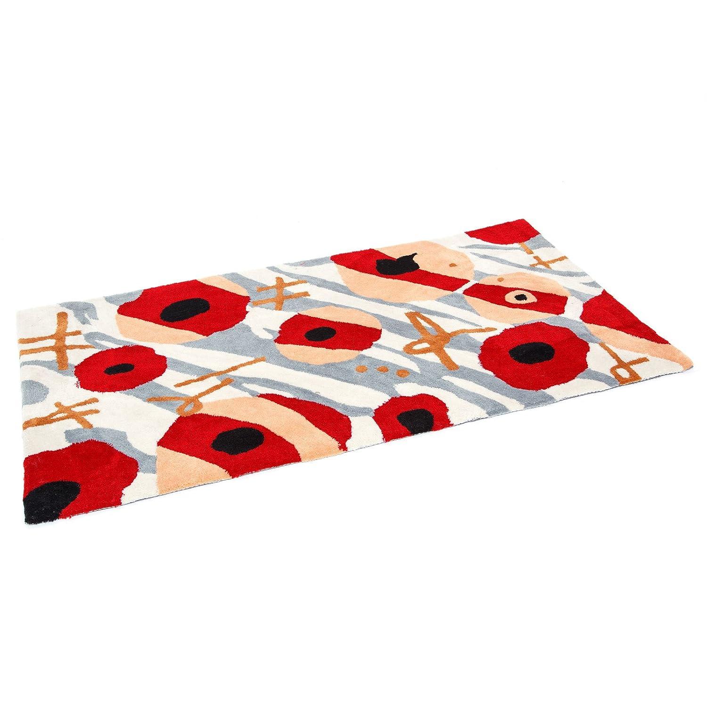Homestyle4u 1225, Hochflor Teppich Wohnzimmer, Blumen Rot Grau, 120 x 170 cm