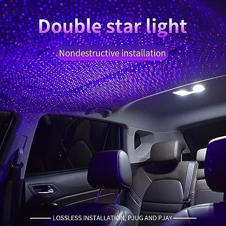 Nachtlicht Stern Projektor 2 In 1 Auto Auto Dach Led Licht Atmosphäre Romantische Rot Blau Grün Innenraum Auto Licht Einstellbare Usb Auto Dach Stern Projektor Dekorationen Für Auto Decke Auto