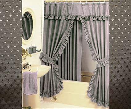 Diamond Pattern Fabric Double Swag Shower Curtain Set Tiebacks Hooks Taupe Amazonca Home Kitchen