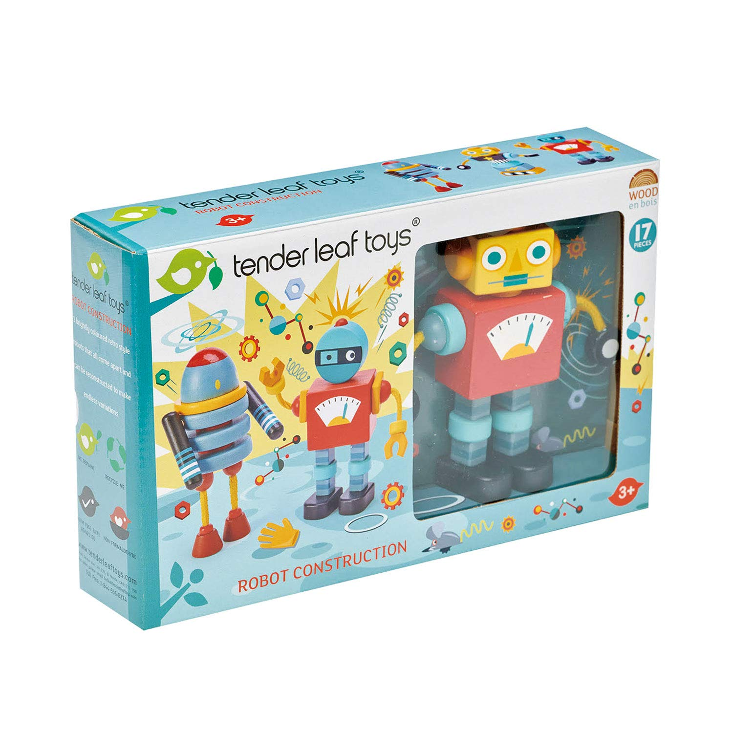 Robot Construction Tender Leaf Toys 17 Pieces Wooden Construction Set to Build and Stack 3 Robot in Endless Variations Develops Problem Solving Skills and Imaginative Play for Children 3+