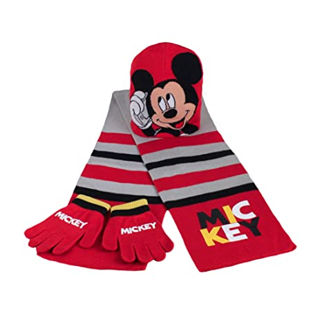 Disney - Set 3 Pezzi Sciarpa+Cappello+Guanti Topolino  Amazon.it ... aee6d778d487
