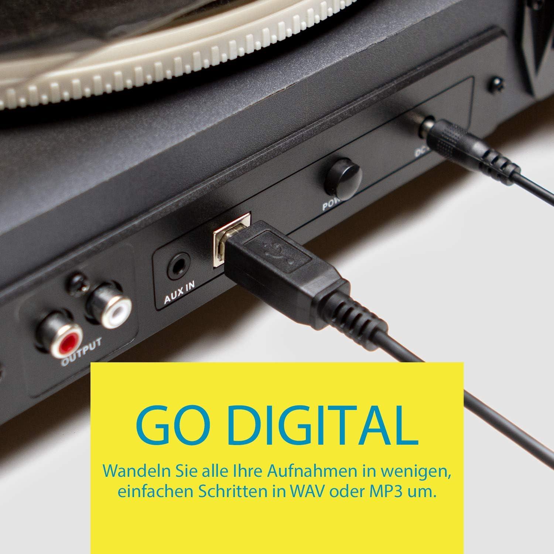 Jam Spun Out Bluetooth Plattenspieler schwarz Kopfh/örerausgang und Aux-Eingang Vinyl Plattenspieler 3-fach Riemenantrieb f/ür erstklassigen Sound Bluetooth-Funktion inklusive Staubschutzh/ülle