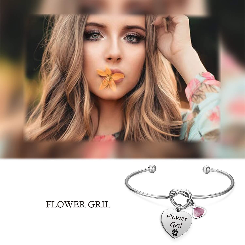 EIGSO Flower Girl Bracelet Flower Girl Jewelry for Wedding Expandable Bangle Wedding Party Gift Flower Girl Gift for Wedding Bridesmaid Gift Bridesmaid Barcelets