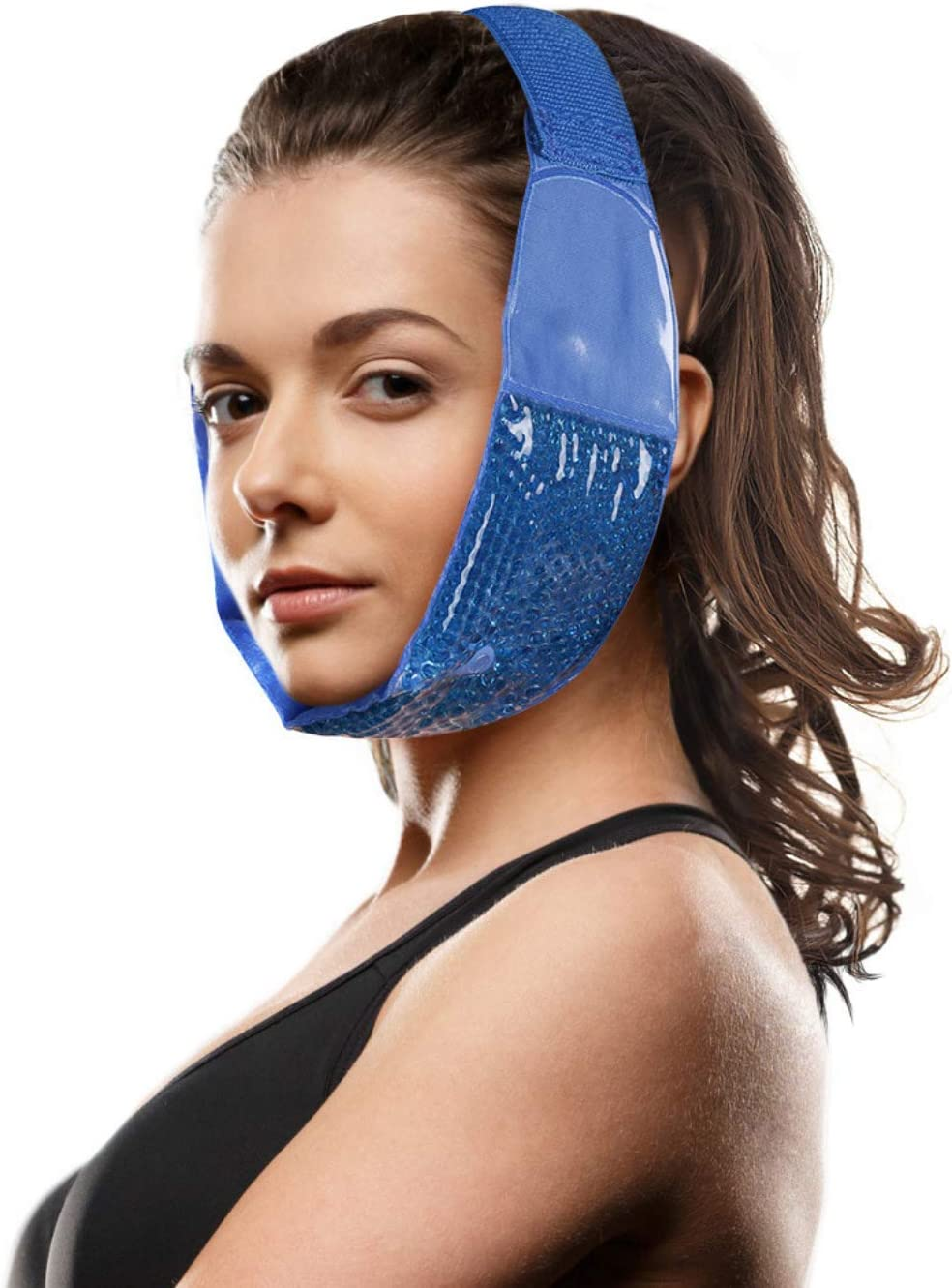 Hot Cold Jaw and Forehead Ice Pack by FOMI Care | Flexible Gel Bead Wrap for TMJ, Wisdom Teeth, Oral and Facial Surgery, Dental Implants, Migraine, Headache, Chin and Tooth Pain | Adjustable, Reusable