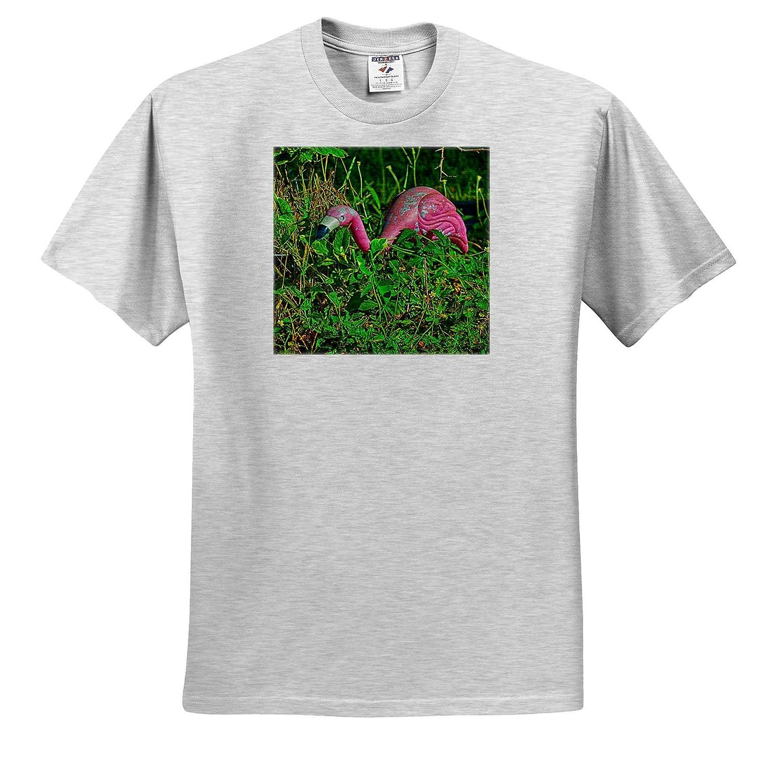 3dRose Susans Zoo Crew Scenery Creepy Lawn Flamingo in Plants T-Shirts