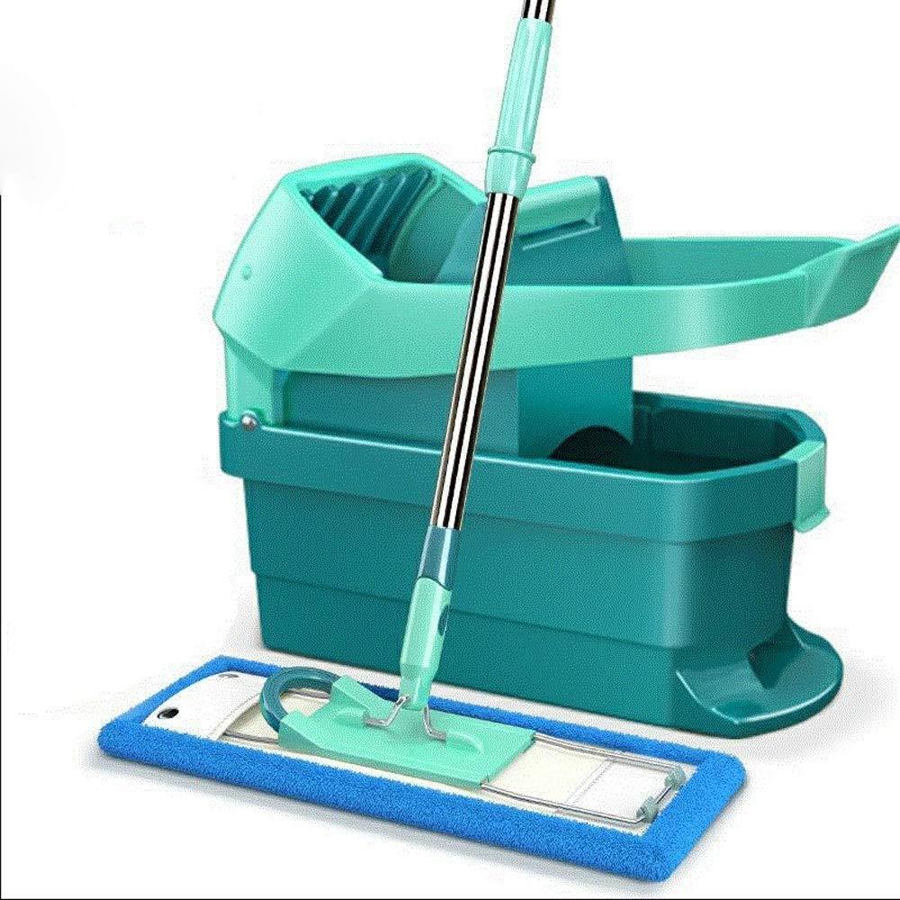 ステンレススチール製デラックスローリングスピンモップ3本、マイクロファイバーモップヘッド付き、乾燥脱水2枚付きウェットデュアル使用ヘッド(カラー:ブルー) (色 : 青) B07RM1B7WX 青