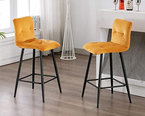 chairus Counter Height Stools, 26 Velvet Upholstered Armless Stool with Modern Metal Black Legs and Footrest for Kitchen Bar, Set of 2, Yellow