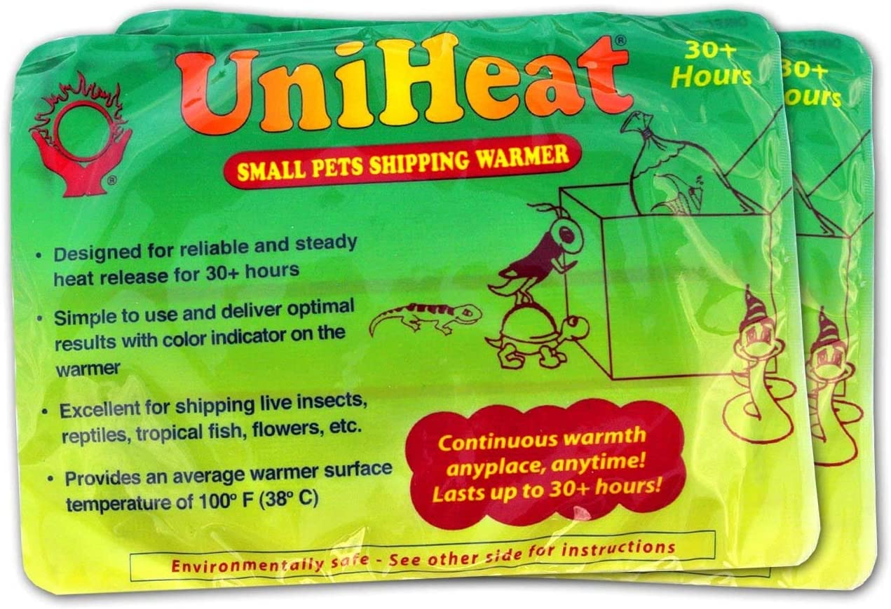 "Uniheat Shipping Warmer 30+ Hours, 8 PACK >PLUS!< 1 - 10""x18"" Shipping Bags, 30+ Hour Warmth for Shipping Live Corals, Small Pets, Fish, Insects, Reptiles, Etc...AND Shipping Bags to Hold in the Heat"