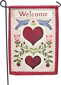 LAYOER Home Garden Flag 13 x 18 Inch House Double Sided Doves& Heart Love Welcome 12 x 18 Inch