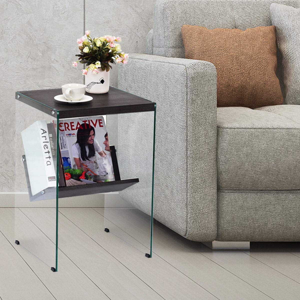 Tangkula 2-Tier End Table Side Table for Bedroom Living Room Home Furniture MDF Tempered Glass Coffee Table