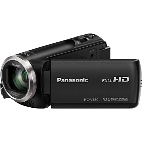 "Panasonic HC-V180EC-K - Videocámara de 2.7"" (zoom óptico de 50x , gran angular 28 mm, sensor 18.1 MP, control creativo), Color Negro"