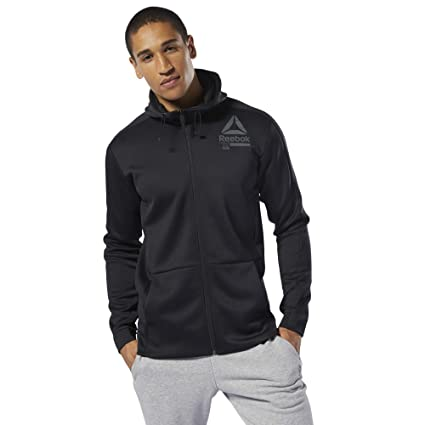 42f45b86ea Amazon.com : Reebok OST Spacer Full Zip Hooded Jacket - Mens - Black ...