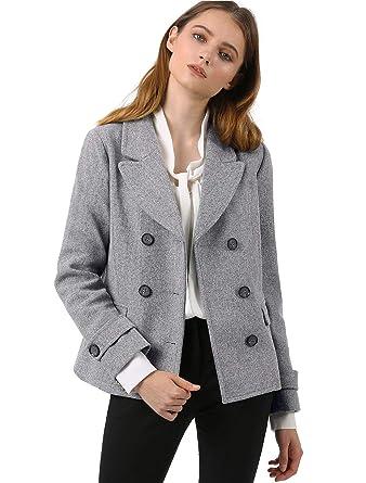 6c5c4017990 Amazon.com  Allegra K Women s Notched Lapel Double Breasted Pea Coat ...