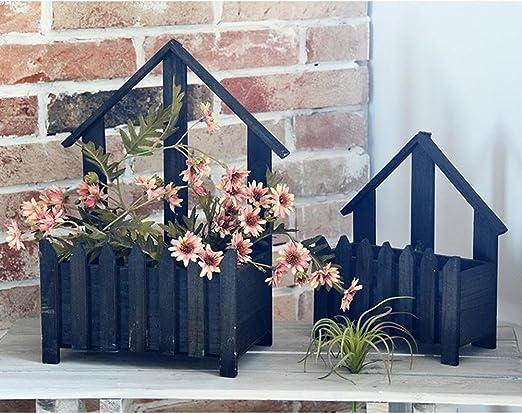 YOSPOSS Maceta de madera con diseño de flores, estilo americano de ...