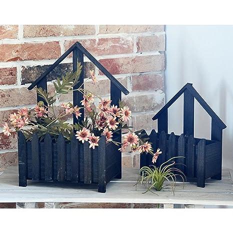 YOSPOSS Maceta de madera con diseño de flores, estilo americano de pueblo floral, mini