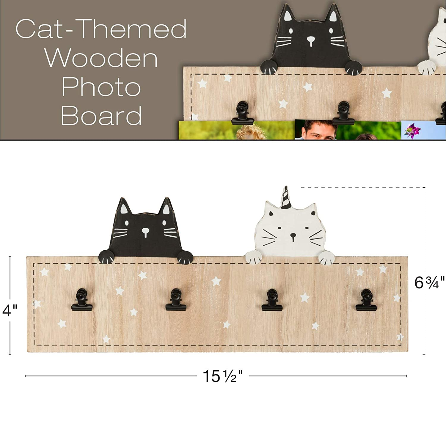 Photo Board is Ready to Hang and Includes Two Decorative Cats Hang Photos with The Installed Metal Clips. Excello Global Products Wall Mounted Wooded Photo Frame