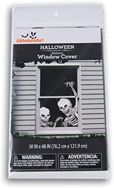 Spooky Town Halloween Skeleton Window Cover - 30 x 48 Inches