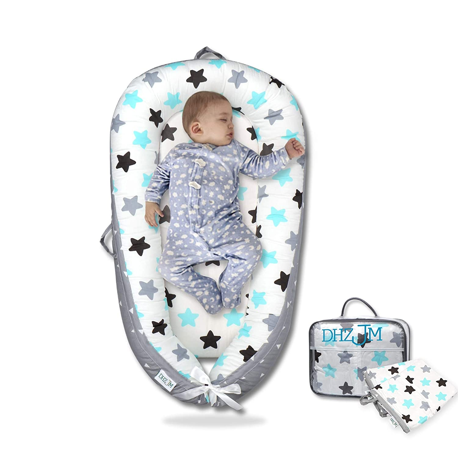 Baby Lounger Baby Nest Co-Sleeping for Baby Breathable Soft Infant Crib Nest Passed Child Certification Safe Cotton and Waterproof Bumper Baby Bassinet Sleeping Bed Suit for 0-12 Months