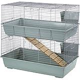 Little Friends Cage à double étage pour lapin Beige/argenté 102 x 56 x 84cm