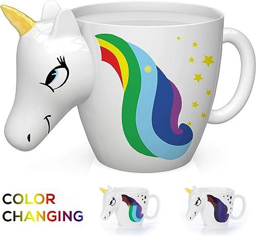 Color Changing Unicorn Mug white mug with unicorn head and rainbow hair