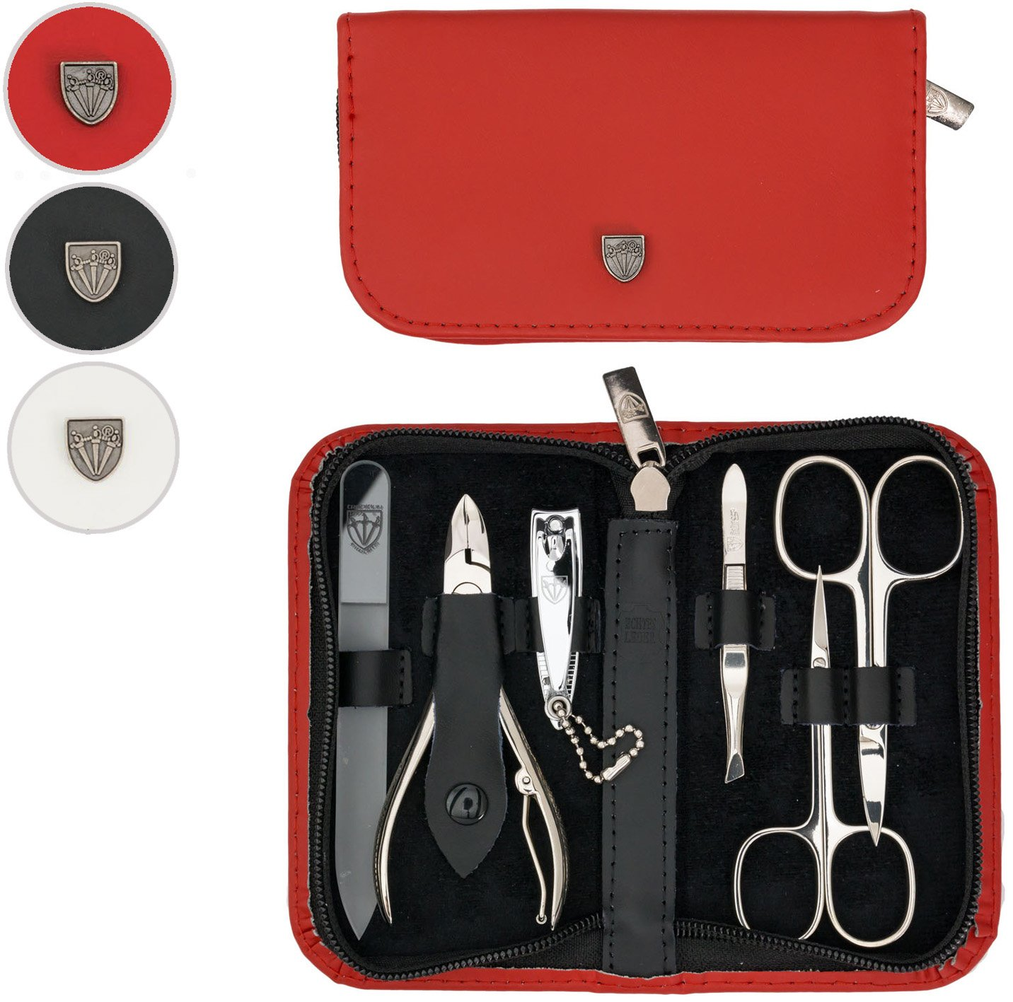 THREE SWORDS | Exclusive 6-Piece MANICURE - PEDICURE - GROOMING - NAIL CARE set / kit / case - GENUINE LEATHER | Made in Solingen / GERMANY (213709)
