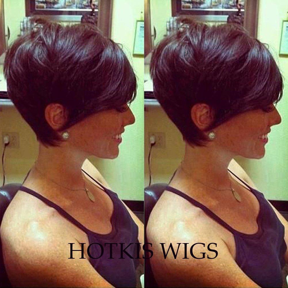 HOTKIS Human Hair Short Hair Wigs In Burgundy Glueless Red Pixie Cut Wig for Women (HS807-Light 99j) BLACKPRETTYHAIR