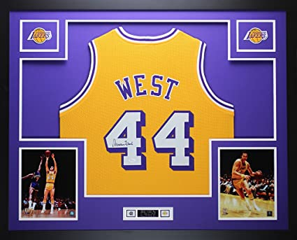 d30c9e98838 Jerry West Autographed Gold Lakers Jersey - Beautifully Matted and Framed -  Hand Signed By Jerry