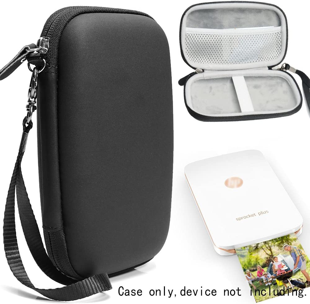 CaseSack Case for HP Sprocket Plus and Sprocket Select Portable Photo Printer, Mesh Pocket for Photo Paper and Charge Cord, Elastics Secure Strap, Detachable Wrist Strap (Matte Black)