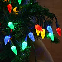 kingleder 16.5Ft 50LED C6 Colored Battery Christmas Lights Indoor, Battery Operated Multicolored Strawberry Fairy String…