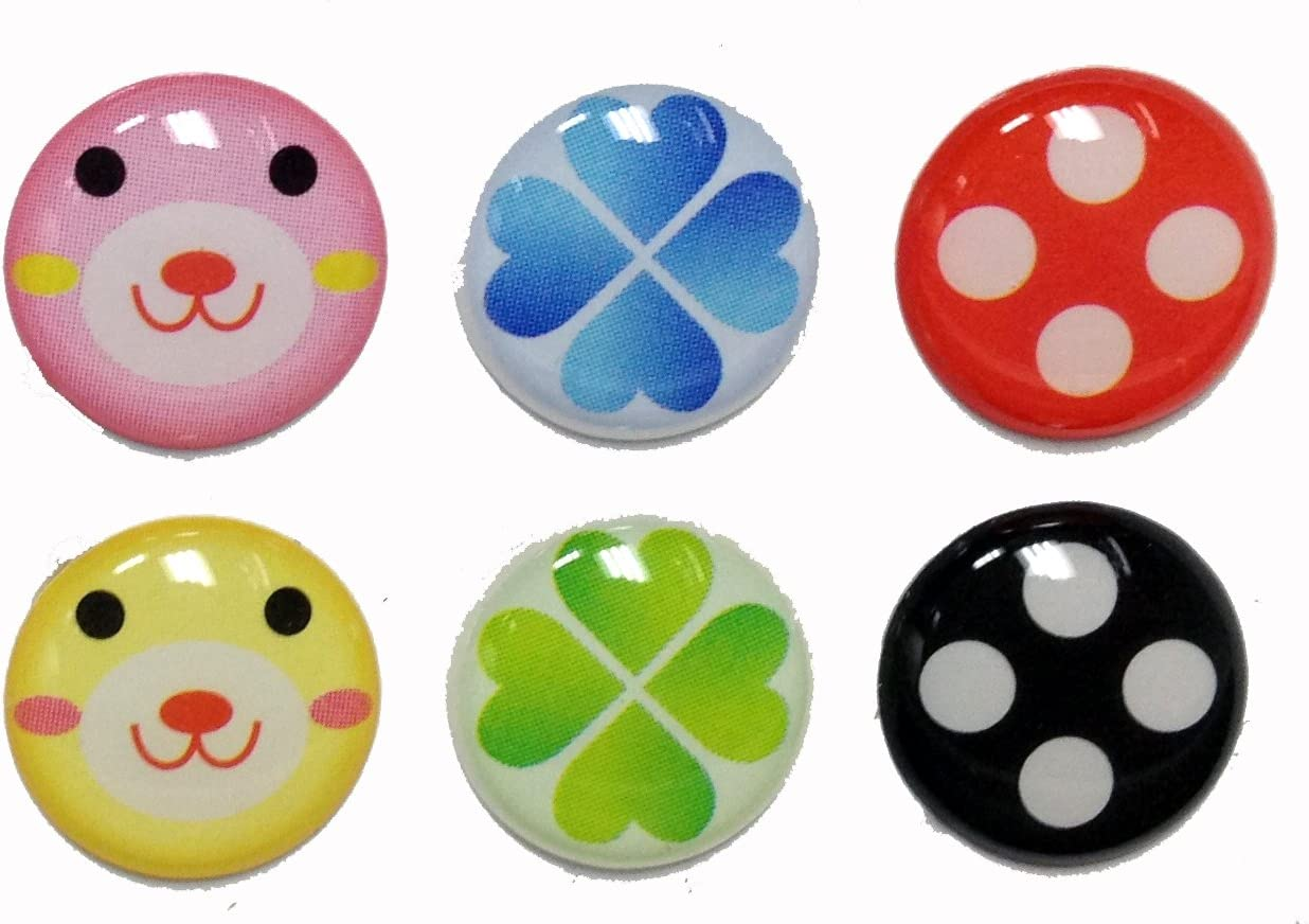 3D Semi-circular Cute Bear Face Four Leaf Clover Dots Style 6 Pieces Home Button Stickers for iPhone 5 4/4s 3GS 3G, iPad 2, iPad Mini, iTouch