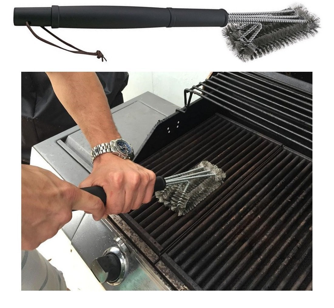 OLIVIA & AIDEN 6 Piece Stainless Steel BBQ Accessory Set - BBQ Spatula, BBQ Tongs, BBQ Fork, Grill Scrubber Brush, Meat Thermometer, Heat Resistant BBQ Glove and Carry Case - Great Value BBQ Tool Set by Olivia's Home Goods (Image #7)