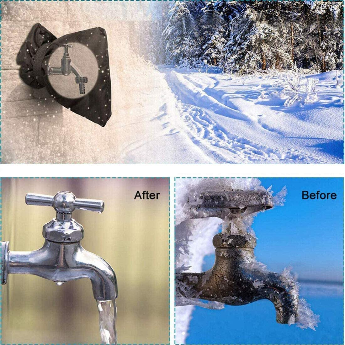 Pipe Insulation Freeze Protection Anti-Freeze Hose Bib Black Reusable Waterproof Insulated Spigot backflow Cover LEOTHER 4 Pack Outdoor Faucet Cover Winter Heavy Duty Nylon Oxford Cloth