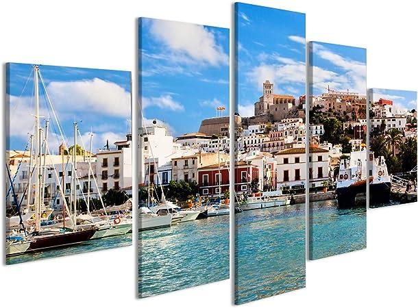 islandburner Cuadro Cuadros Panorama del Casco Antiguo de Ibiza - Eivissa España, Islas Baleares Impresión sobre Lienzo - Formato Grande - Cuadros Modernos: Amazon.es: Hogar