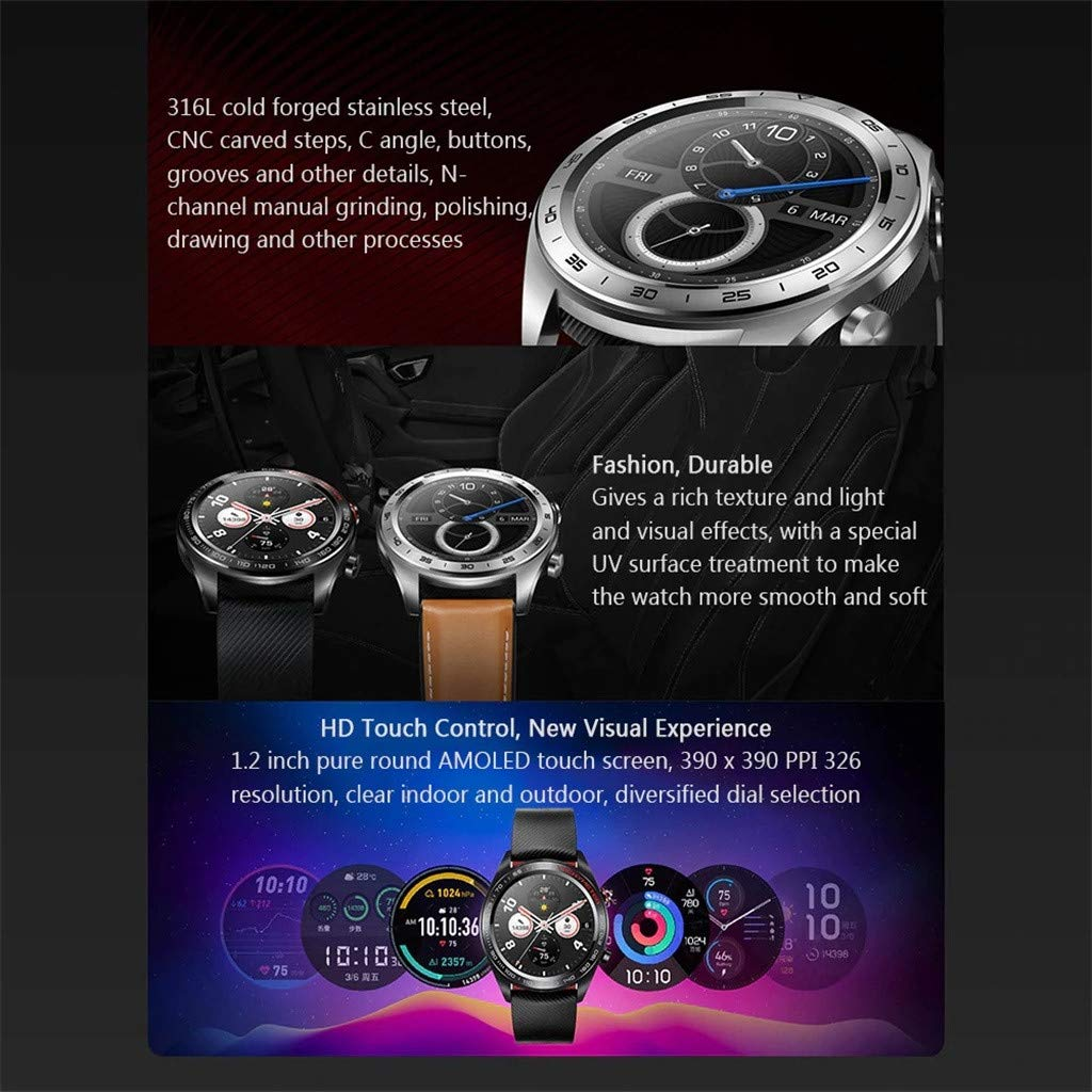 certainPL Huawei Honor Watch Magic Smart Watch, Multiple Sports Modes, Heart Rate AI Monitor, All-Day Pressure Manager, GPS, Alipay/NFC Bus Card Payment, 1.2'' AMOLED Colorful Touch Screen (Black) by certainPL (Image #4)