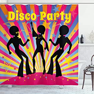 "Ambesonne 70s Party Shower Curtain, Dancing People Silhouettes with Afro Hair Disco Party and Funky Display Print, Cloth Fabric Bathroom Decor Set with Hooks, 70"" Long, Multicolor"