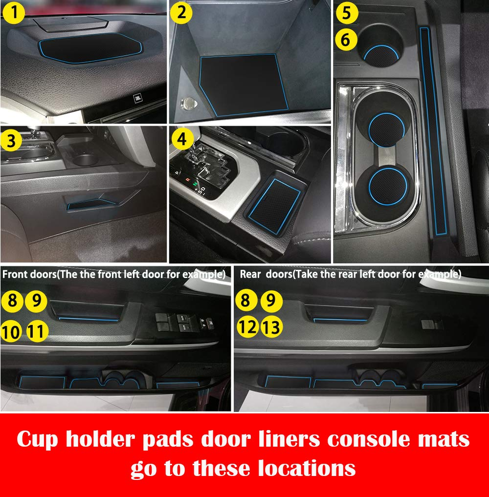 Pack of 24, Black Anti-dust Door Mats for 2014-2019 Toyota Tundra Gate Door Liners Inserts Cup Console Mats interior Accessories