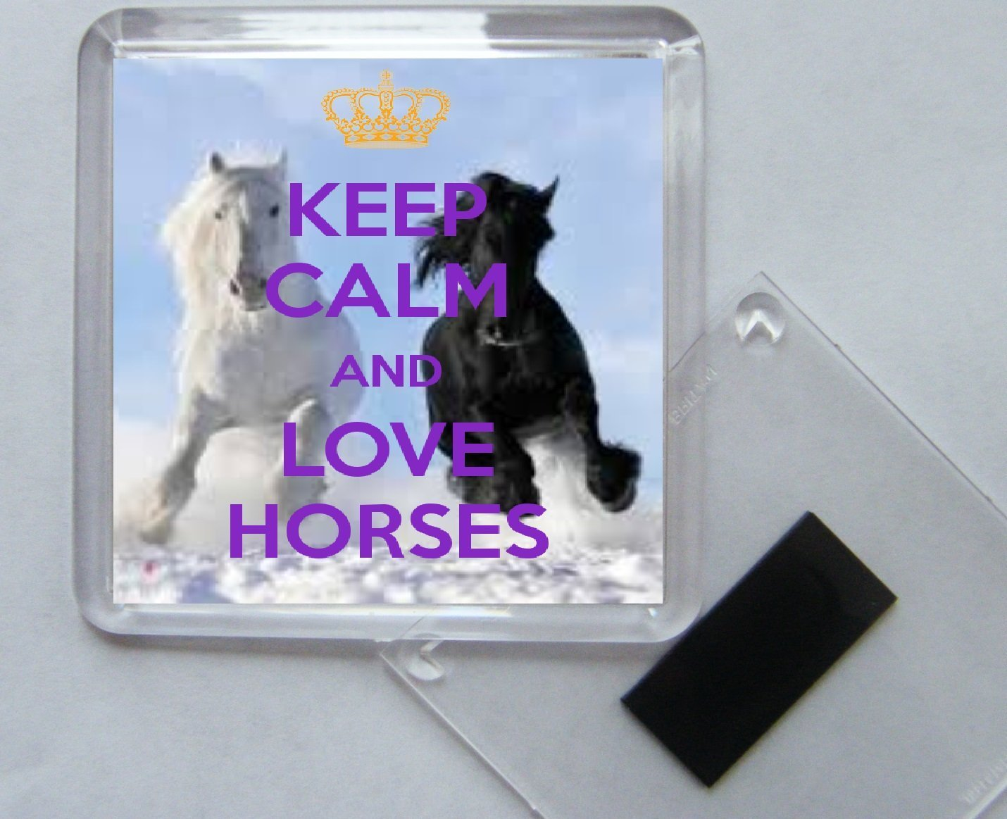 Keep Calm and Love Horses Square Acrylic Fridge Magnet