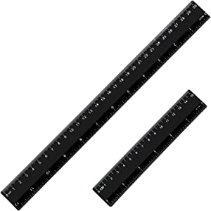 eBoot Plastic Ruler Straight Ruler Plastic Measuring Tool 12 Inches and 6 Inches, 2 Pieces (Black)