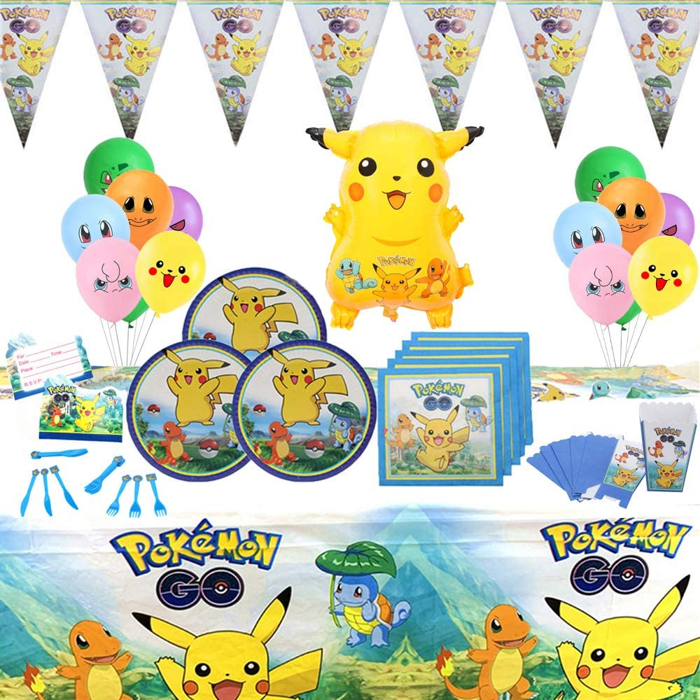 Pokemon Pikachu Party Supplies Set 7 Pack Birthday Party Tableware Kit  with Balloons Banner Decorations Complete Celebration Party Supplies for 7