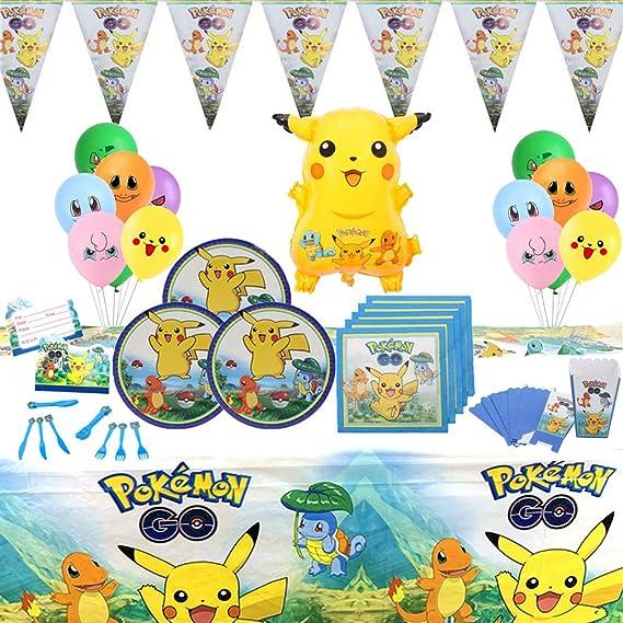 Geenber Pokemon Pikachu Party Supplies Set 81 Pack Kit de vajilla de Fiesta de cumpleaños con Globos Decoraciones de pancartas Suministros de Fiesta de celebración Completa para 10 niños Niños: Amazon.es: Juguetes