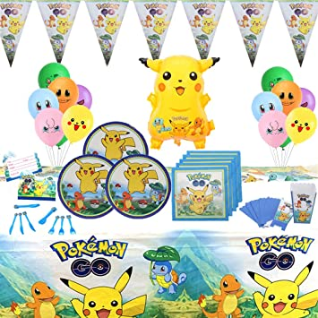 Geenber Pokemon Pikachu Party Supplies Set 81 Pack Kit de vajilla ...