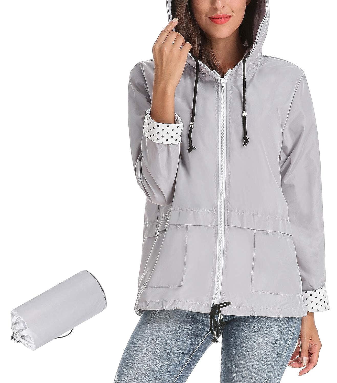 Aceshion Lightweight Waterproof Raincoat Women Windbreaker Outdoor Hooded Jacket
