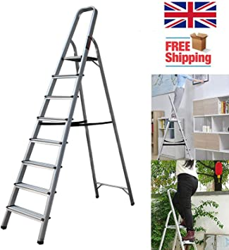 Escalera plegable de alta resistencia con 8 hilos anchos con barra protectora para la mano, escalera de seguridad fuerte de 150 kg de capacidad: Amazon.es: Bricolaje y herramientas