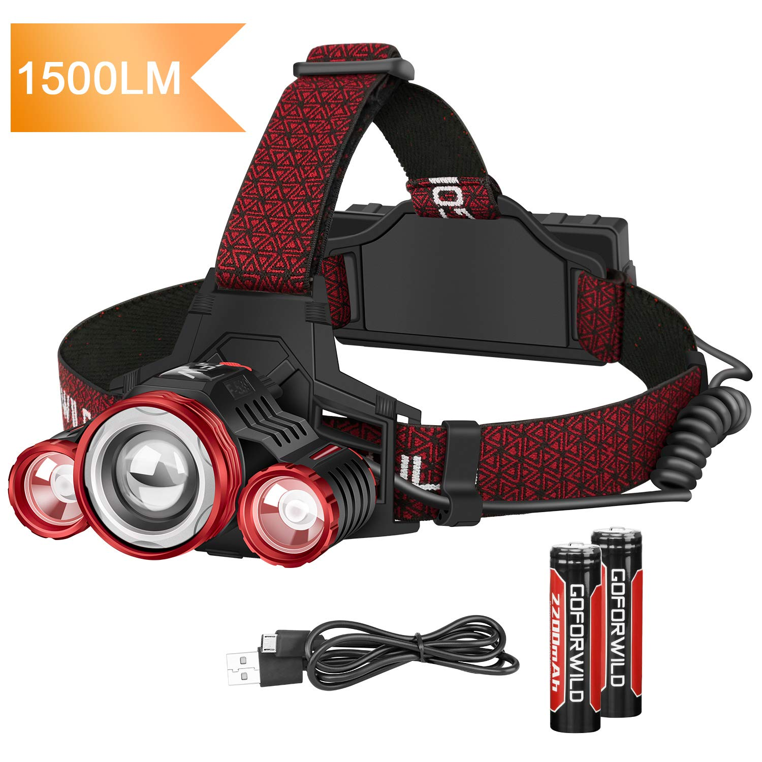 Headlamp,GOFORWILD 1500 Lumen Brightest Rechargeable LED Headlamp, With Battery Level Indicator,4 Light Modes zoomable work light,Waterproof Head Lights for Camping,Hiking, Outdoor by GOFORWILD