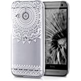 kwmobile Hülle für HTC One Mini 2 - Crystal Case Handy Schutzhülle Kunststoff - Backcover Cover klar Art Deco Design Weiß Transparent