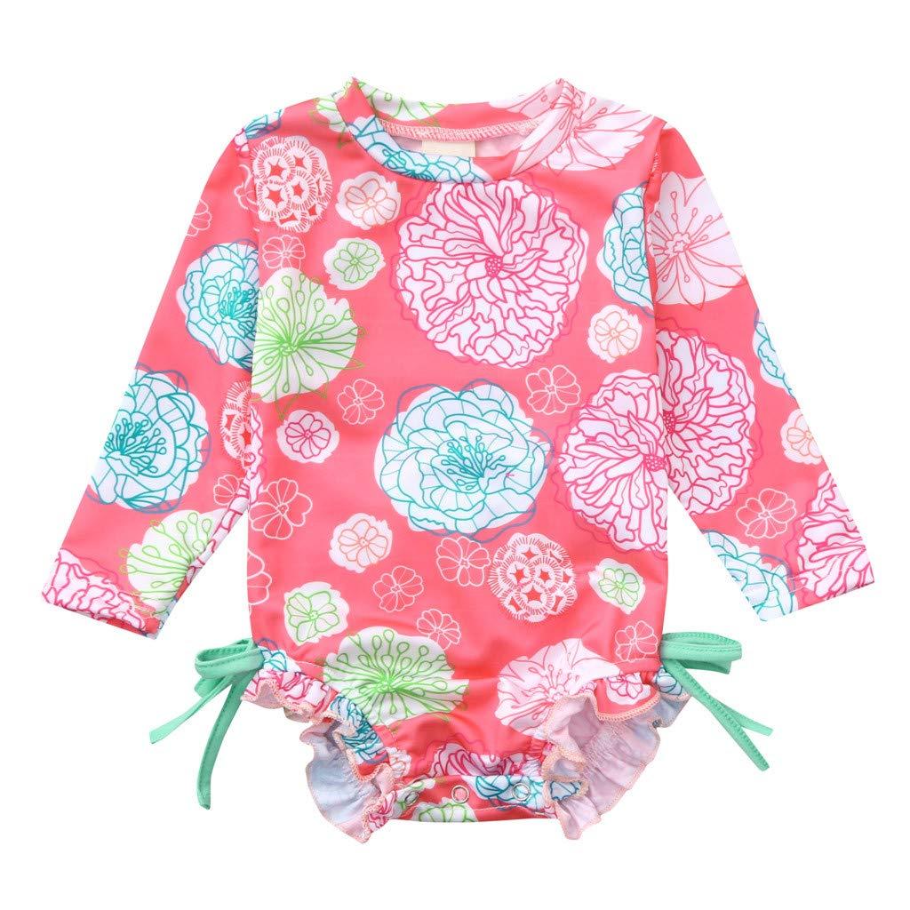 NUWFOR Toddler Baby Girl Kids Swimwear Floral Printed Bikini Swimsuit Beach One Piece (Pink,18-24 Months)