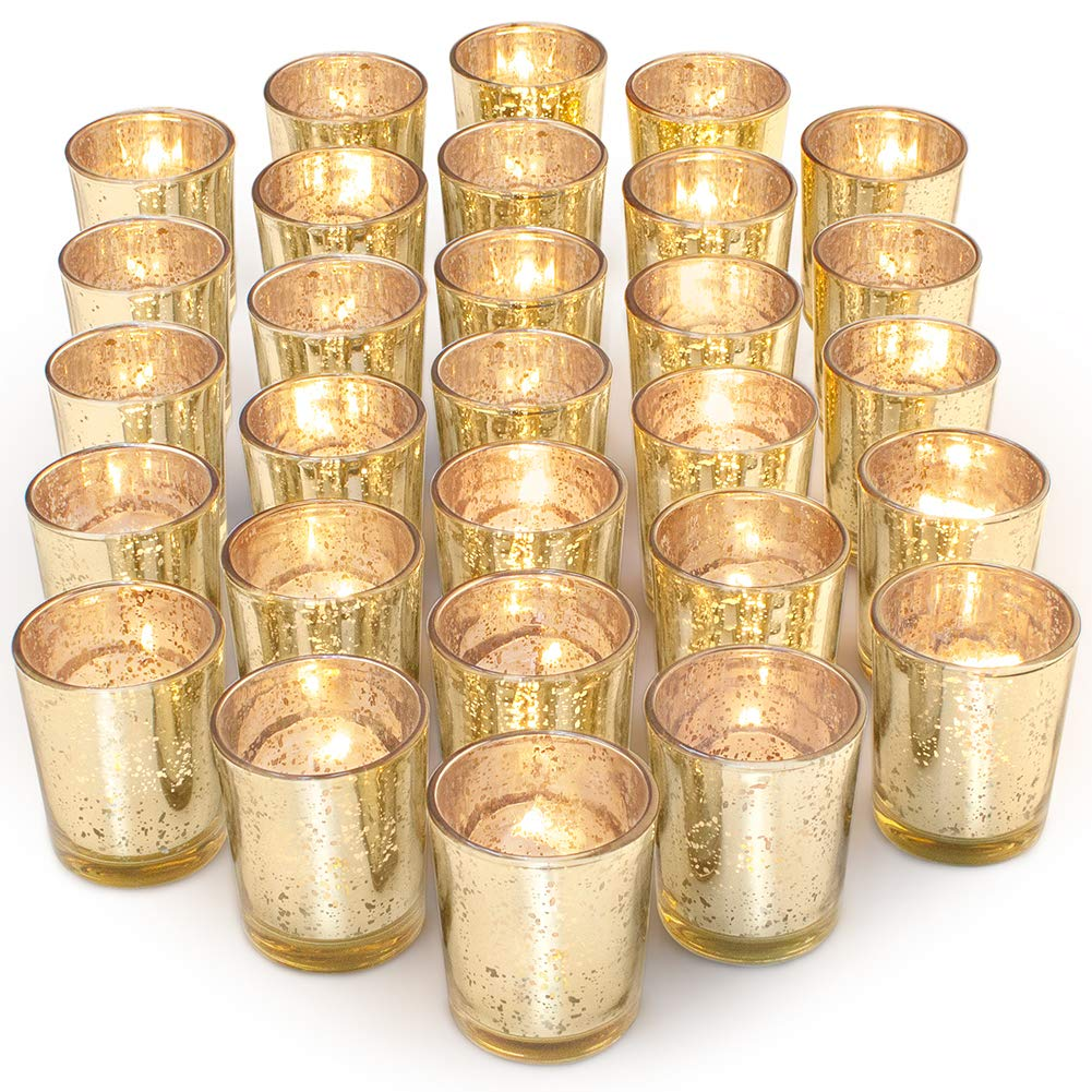Letine Gold Votive Candle Holders Set of 36 - Speckled Mercury Gold Glass Tealight Candle Holder Bulk - Ideal for Wedding Centerpieces & Home Decor by Letine