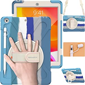 BRAECN iPad 8th Generation Case 2020, Rugged Shockproof Case with Screen Protector, Pencil Holder, Pencil Cap Holder, Hand Strap, Stand, Shoulder Strap for iPad 8/7 Gen 10.2