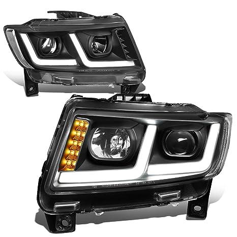 Headlights Chrome/Clear *DRL LIGHT BAR+LED SIGNAL* Projector Headlight 11-13 Grand Cherokee