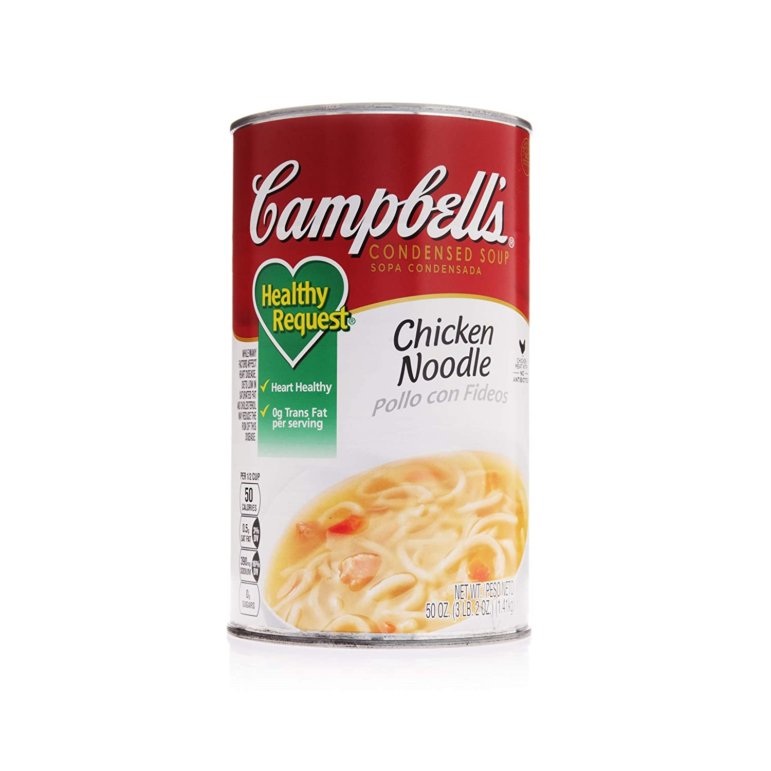 Campbell's Foodservice Classic Condensed Healthy Request Soup Cans 12 Pack, Chicken Noodle, 50 Ounce